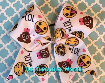 Emoji Cheer Bow, Emoji Bow, Cheer Bow, Cheerleading, Emoji Hair Bow