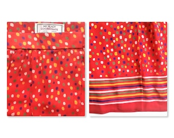 Midi skirt MICALADY Ginza Tokyo Japan vintage red polka dot multicolored striped 80's 1980