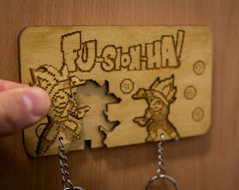 "Dragonball Z Inspired ""FU-SION-HA!"" Lasercut & engraved keyring and wall mount"