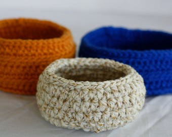 Set of 3 Small Crochet Baskets