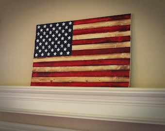 Solid Wood American Flag Burnt Hand Painted Large Sign