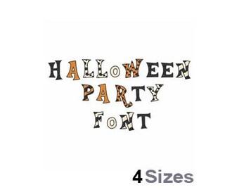 Halloween Party Font  - Machine Embroidery Font - 4 Sizes, Lettering, Letters, Alphabet, Font Set, Patterned Font,