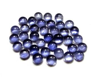 10 pieces 5mm Blue IOLITE Round Cabochon Nice Quality Gemstone, Iolite Cabochon Round Natural Deep Blue Colour, Round Cabochon Iolite Gems
