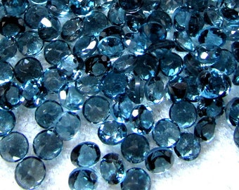 5 pieces 5mm London Blue Topaz Faceted Round Gemstone, Natural London Blue Topaz Round Faceted gemstone, London blue topaz round faceted