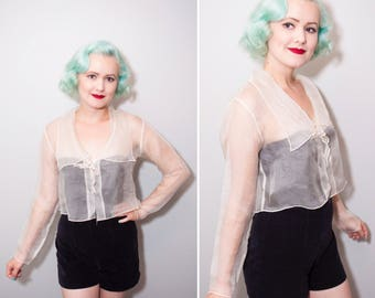 20's Style Sheer White Silk Long Sleeve Blouse With Kitten Bow | Size Small