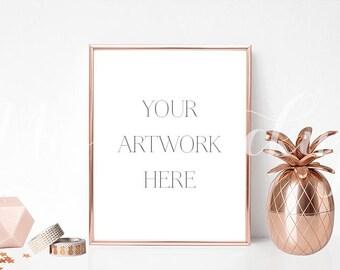 8x10 DIGITAL Rose Gold Frame Mockup (Portrait) - Stock Photo, Styled Photography, Mock up, prints, illustration, INSTANT DOWNLOAD