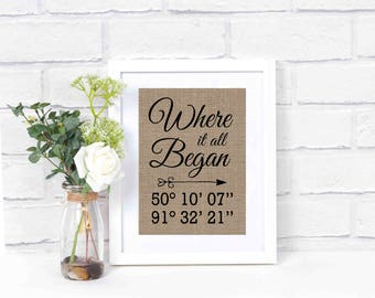 Latitude Longitude Sign- Engagement Gift- Home Coordinates Sign- Where It All Began- Rustic Home Decor- Bridal Shower Gift-Personalized Gift