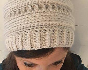 Women's Slouch Beanie, Winter Hat, Ribbed Beanie, Crochet, Handmade, CC beanie look alike