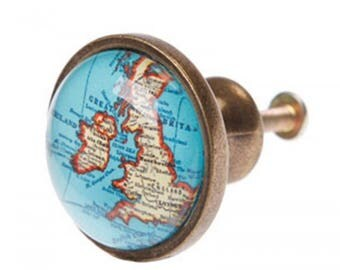 Retro Vintage Style Uk Map Door / Drawer Knob / Door Pull ~ Upcycling Project