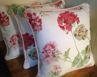 Handmade Laura Ashley Geranium Pale Cranberry Cushion with Coral Piping