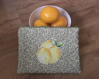 Quilted Lemon and Leaf Zipper Pouch