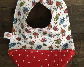Scalable reversible bib for baby kids bandana bavana robot red polka dot bib