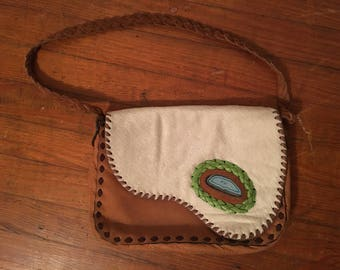 Maia Ostrich and Leather/Fur Shoulder Bag With Agate Accent