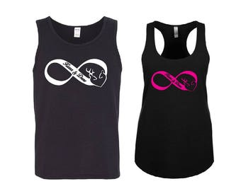 Infinity BUCK and DOE with your NAMES Couple Tank Tops