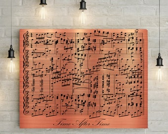 Copper Anniversary Custom Music Sheet - 7th Wedding Anniversary Gift, First Dance/ Wedding Song Music Notes on Canvas