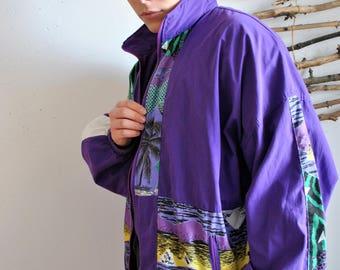 Palms windbreaker 1990s 1980s vintage violet sport jacket