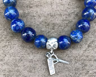 lapis lazuli bracelet, lapis bead bracelet, genuine lapis bracelet, silver charm bracelet, charm bracelet, sterling silver 925 charm,gift fo