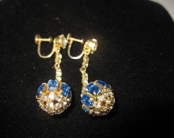 Vintage Round Rhinestone and Marque Cut Blue Stone Screw on Earrings