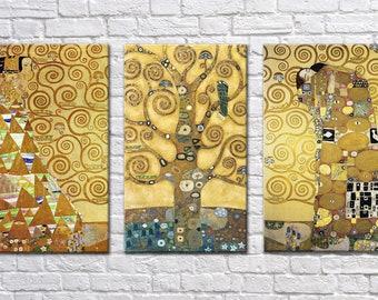 "Extra Large Wall Art 3 Panel Canvas, Painting Gustav Klimt ""Tree of Life"" TRIPTYCH, Photo Print on Canvas, Large Canvas art, Interior Art"