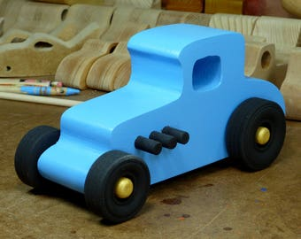 Wooden Toy Car, Hot Rod Freaky Ford, 27 T Coupe, Roadster, 1927 Ford, Made In USA, Street Rod, Speedster, Dragster, Race Car