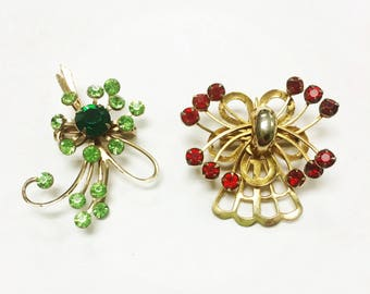 Vintage 1960s Brooch Set of Two (Red and Green with Rhinestones)