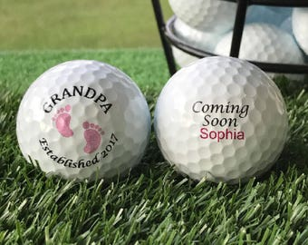 Grandpa Girl Pregnancy / Birth Announcement, Gender Reveal Personalized Custom Golf Ball Set of 3, FAST SHIPPING!!