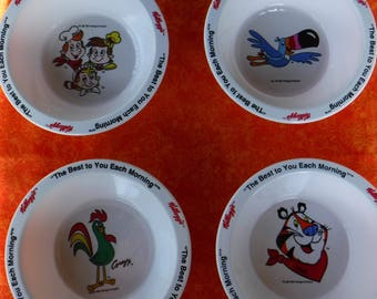 Set of 4 Kellogg Cereal Bowls  Cereal premiums Collectibles Excellent condition repurpose Tony the Tiger