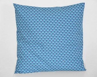 Cushion - 40 x 40 cm - printed fabric WASABI * PETIT PAN *-blue and white