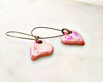 """Earrings """"Red ceramic heart"""""""