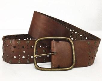 Filigree Dress Belt / Wide Brown Leather Boho Belt w/ Old Brass Buckle For Women /80s Express Leather Bohemian Skirt Belt / Ornate Belt