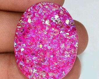 50%SALE Semi Precious Natural Pink Titanium Druzy Gemstone Oval Cabochon Size ( 31x24x6mm ) Wholesale Druzy  67 cts