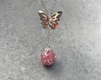Double Butterfly with Pink Glitter and Silver Leaf Flakes Orb Pendant, Sphere Pendant, Resin Jewelry, Christmas
