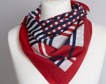 """vintage Square scarf, polyester scarf, fabric women scarf shawl 66cm / 26"""" geometric scarf, checkered scarf red white navy blue"""