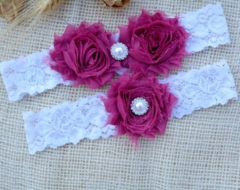Nude Pink Garter, Wedding Garter Set, Bridal Garter, Prom Garter, Rhineston Garter, Shabby flowers, Hot Pink Garter. Choose Your Color, Pink