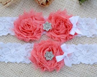 Single Garter, Rustic Garter Set, Wedding Gift, Valentines Day Gift, Coral Garter Set, Bridal Garter, Garters, Custom Garter, Coral Garter