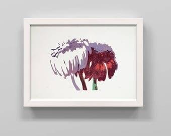 Linocut print Flowers Sill life