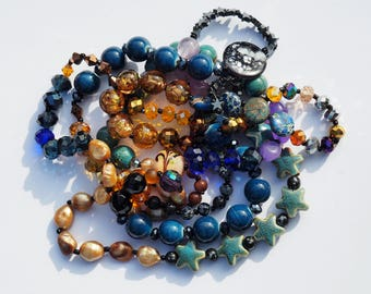 Starry Night Bead Wrap Around Necklace. 56 inches long, lovingly handmade.