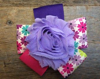 Purple Flower Hair Bow
