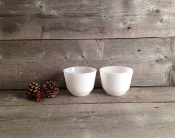 Vintage set of 2 Federal Milk Glass Custard Cups   Farmhouse Kitchen