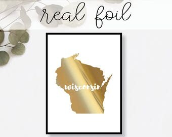 Wisconsin State Print // Real Gold Foil // Minimal // Gold Foil Print // Decor // Modern Office Print // Typography // Fashion Print