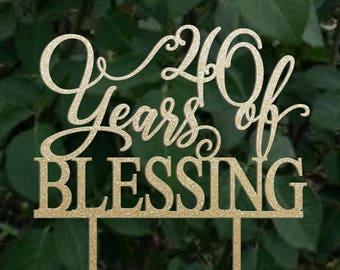 Birthday topper, 40  years of blessing , Birthday Cake Decor, Anniversary Happy Birthday Cake Topper