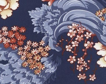 """Floral Fabric: Timeless Treasures Revive Charleston Asian Cherry Blossom on Navy Blue 100% cotton Fabric by the yard 36""""x44"""" (K282)"""