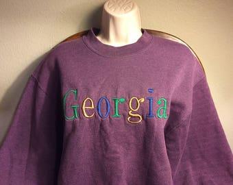 1990's Purple Georga Tourist Sweatshirt Vintage 80s 90s Clothing Retro Clothing