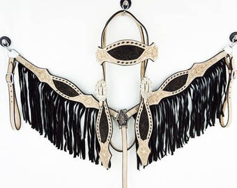 Natural Oil Leather Western Horse Buck Stitched Bridle Headstall Fringe Breast Collar Tack Set