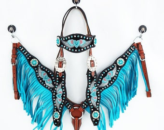 Embroidered Heart & Wings Headstall Leather Western Horse Trail Bridle Breast Collar Plate Barrel Racer Fringe Tack Set
