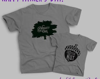 Father's Day Mighty Oak and Little Nut Adult and Child Tee Shirt Set