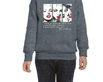 Marilyn Monroe Wise Girl Kisses Gift for Monroe Quotes Lovers Match w Poster Unisex Youth Kids Crewneck Sweater