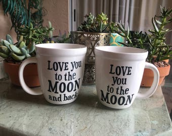 "Cute Romantic Relationship Couples Mugs ""I Love You To The Moon (And Back)"""