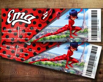 MIRACULUS LADYBUG Ticket Birthday Invitation Digital Download