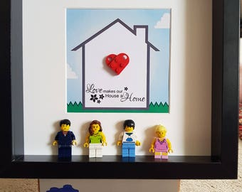 Love makes our house a home Lego 3d Frame Shabby Chic Present Gift